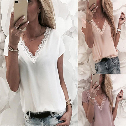 Sexy Solid Color V-Neck Chiffon Short Sleeve T-Shirt
