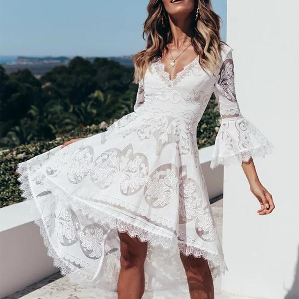 Sexy Lace Bell Sleeve V Neck Beach Dresses