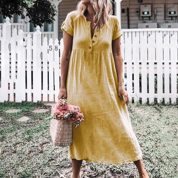Fashion V Collar Plain Loose Maxi Dress