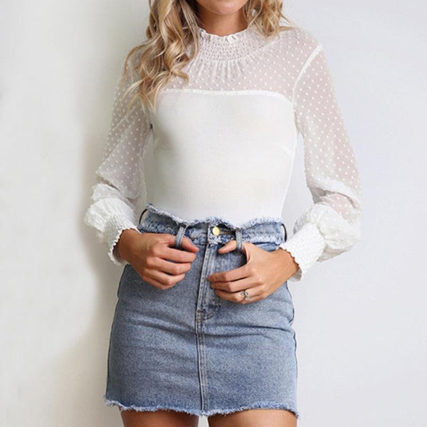 Commuting High Collar Hollow Out See-Through Blouse