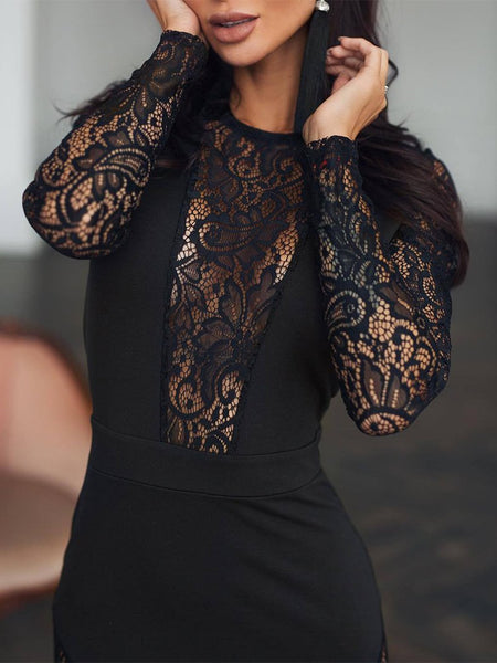 Sexy Lace Splicing Long Sleeve Bodycon Dresses