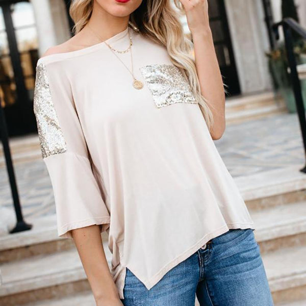 Casual Splicing Paillette Sloping Shoulder T-Shirt
