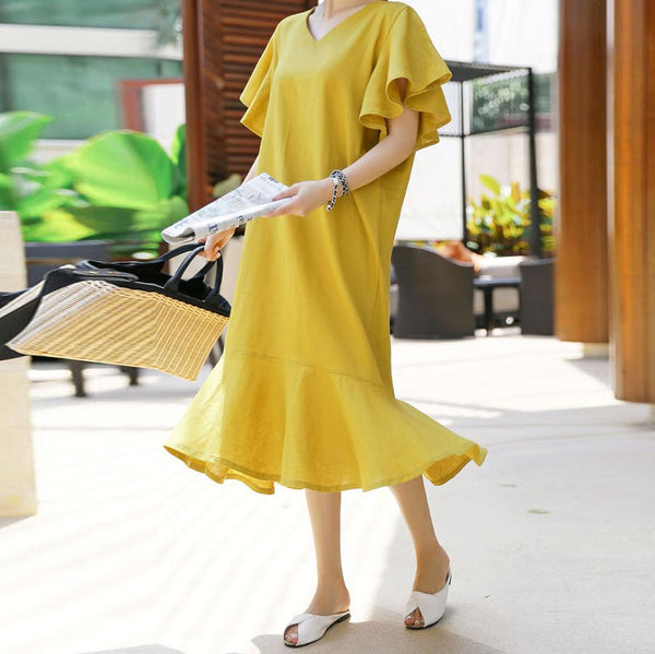 Casual V Neck Pleated Ruffled Short Sleeve Fishtail
