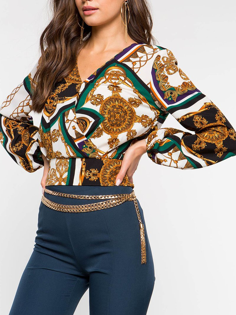 Commuting Long Sleeve Printed Colour Belted Blouse