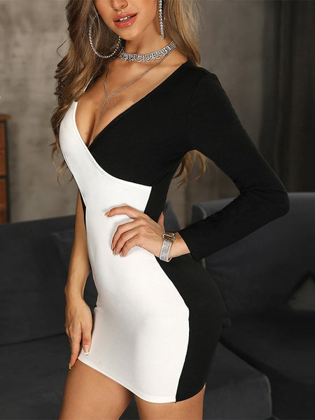 Sexy Contrast Color V Neck Long Sleeve Bodycon Dresses