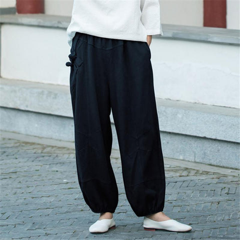 Daily Plain Cotton And Linen Loose Casual Jogger Pants
