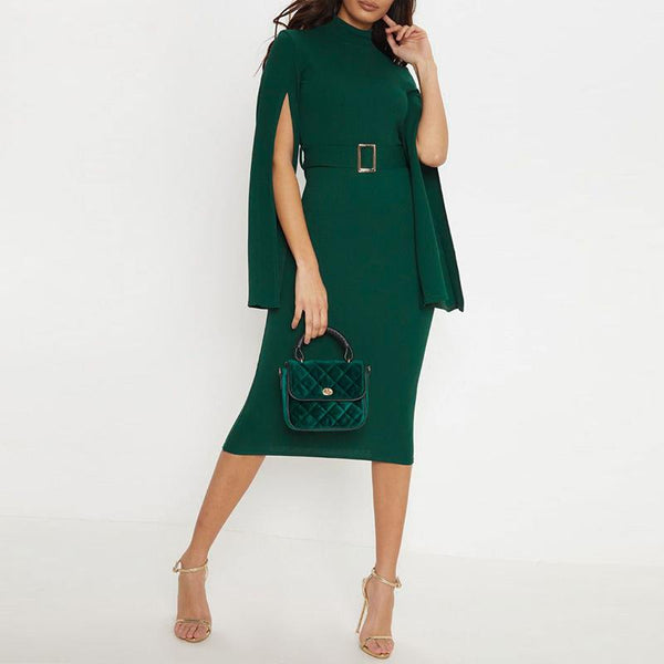 Elegant High-Waist Pure Colour Sleeve Slit Dresses