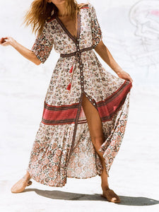 Fashion Halflong Sleeve V Neck Printed Colour Maxi Dresses