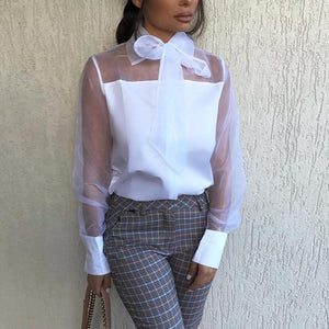 Commuting See-Through Belted Splicing Long Sleeve Blouse