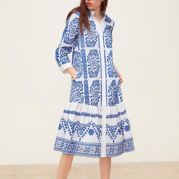 Casual Printed Colour Long Sleeve Shirt Dresses