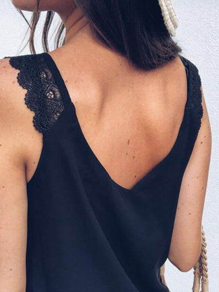 Sexy V Neck Lace Bare Back Off-Shoulder Sleeveless T-Shirt
