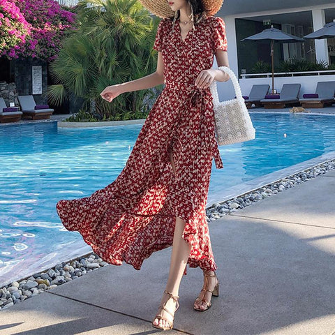 Modern Printed Colour V Neck Short Sleeve Maxi Dresses