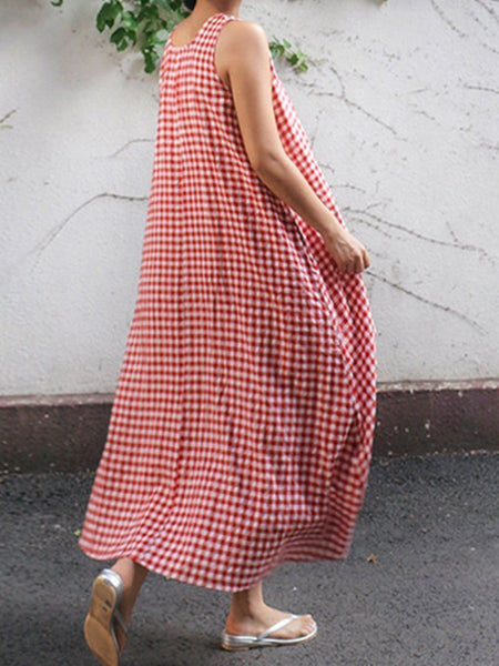 Round Neck  Checkered Maxi Dress