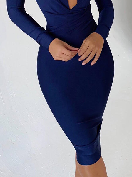Sexy Deep V Long Sleeve Pure Colour Bodycon Dresses