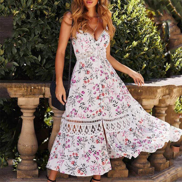 EBUYCHIC Fashion Lace Splicing Printed Colour Sling Vacation Dresses