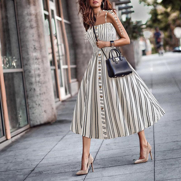 Casual Sling Striped Off-Shoulder Maxi Dresses