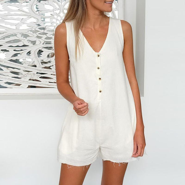 Casual V Neck Pure Colour Sleeveless Jumpsuits
