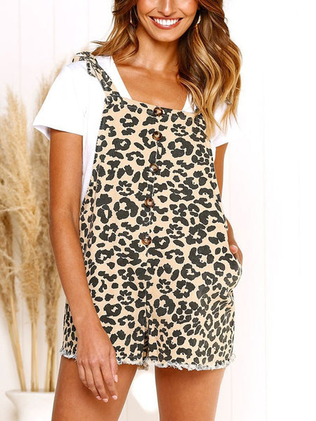Fashion Leopard Print Sling Sleeveless Straps Jumpsuits