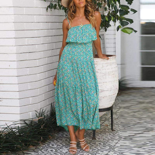 EBUYCHIC Bohemian Sling Ruffled Printed Colour Vacation Dress