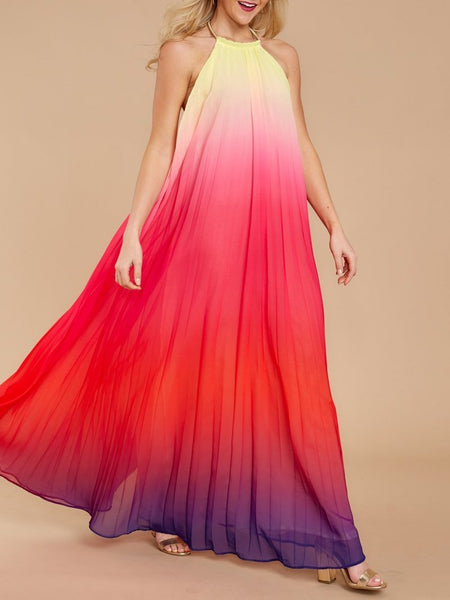 Fashion Gradation Pleated Round Neck Sleeveless Maxi Dresses