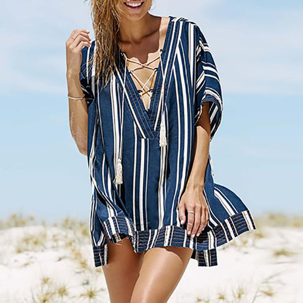 Casual V Neck Sun-Protective Batwing Sleeve Blouse