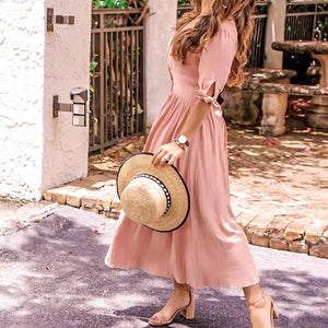 Casual V Neck Pure Colour Waist Halflong Sleeve Maxi Dresses