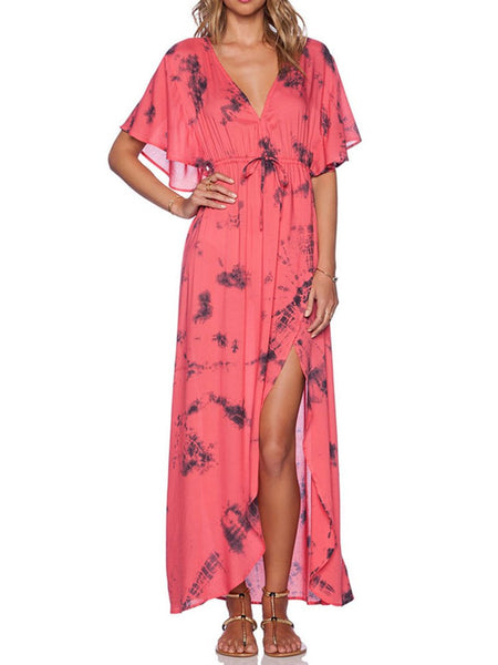Bohemian Printed Colour Belted V Neck Batwing Sleeve Dress