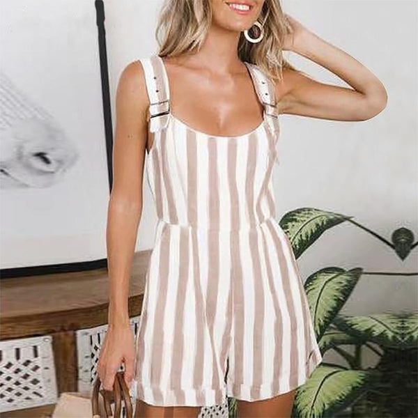 Casual Stripe Belted Sleeveless Off-Shoulder Jumpsuits
