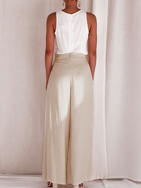 Commuting High-Waist Belted Slit Wide-Leg Trousers