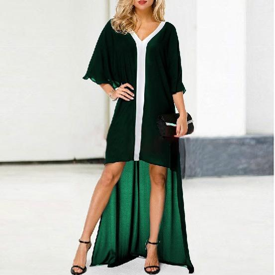 Fashion Irregular Short Sleeve V Neck Maxi Dresses
