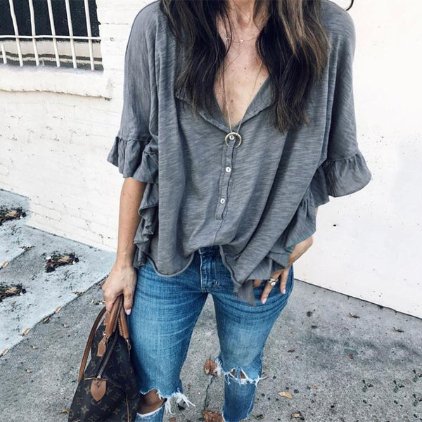 Casual Ruffled V Neck Halflong Sleeve Blouse