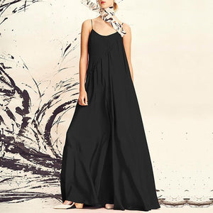 Elegant Round Neck Pleated Sleeveless Off-Shoulder Dress