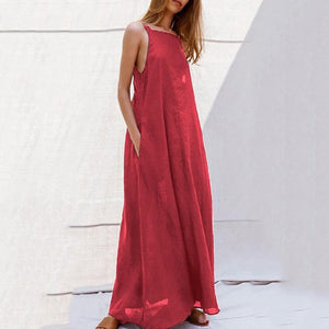 Sexy V Neck Pure Colour Sleeveless Off-Shoulder Dress