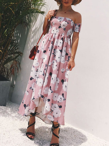 Sexy Bare Back Boat Neck Off-Shoulder Printed Colour Dress