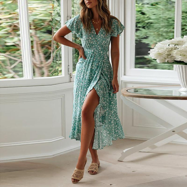 EBUYCHIC Commuting V Neck Ruffled Floral Pattern Pleated Vacation Dress
