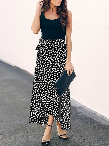 Commuting Sexy Printed Colour Belted Skirt