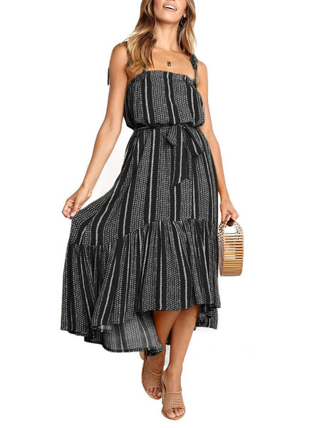 Elegant Sleeveless Belted Printed Colour Pleated Dress