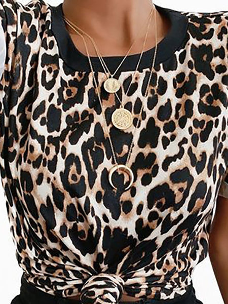 Casual Round Neck Short Sleeve Leopard Print T-Shirt