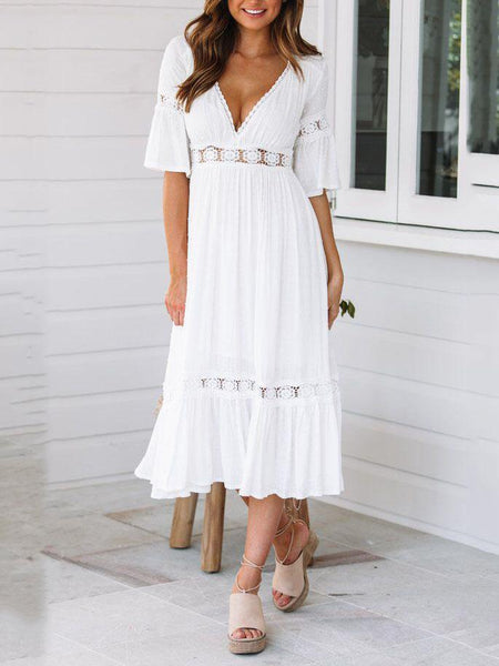 EBUYCHIC V-Neck Lace Trumpet Sleeve White Dress Midi Dress