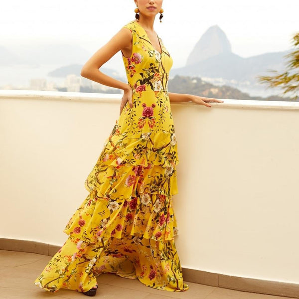 Bohemian Printed Colour Sleeveless V Neck Maxi Dresses