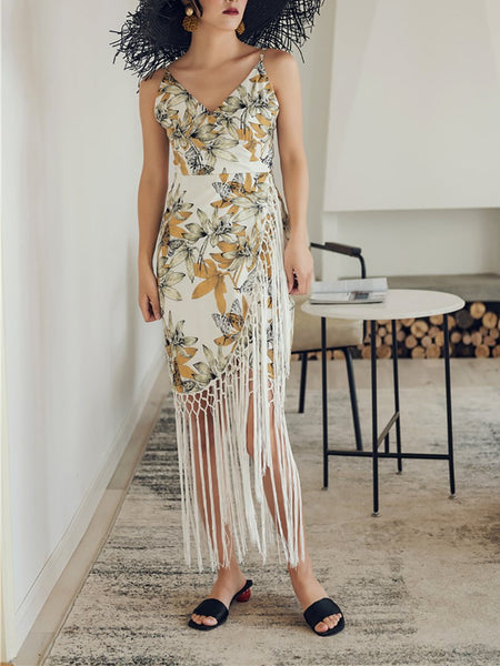 Elegant Irregular Tassel V Neck Sleeveless High-Waist Dress