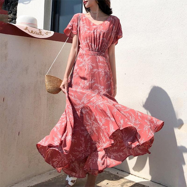 Bohemian V Neck Ruffled Pleated High-Waist Dress