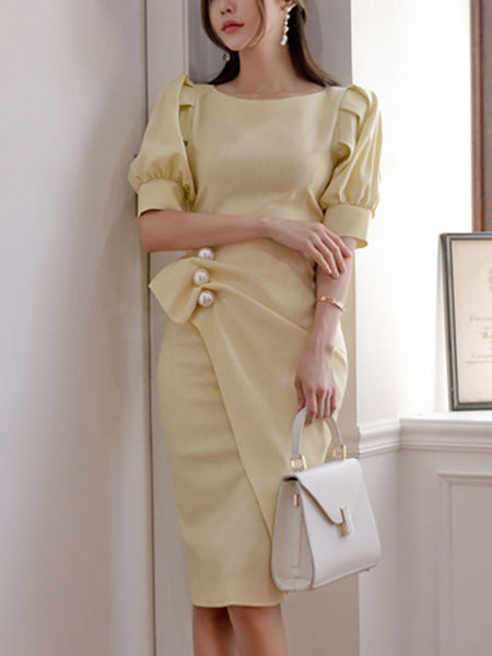 Elegant Pleated Bubble Sleeves Round Neck Pure Colour Dress