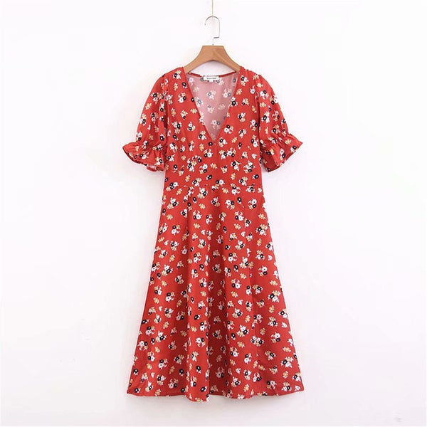 EBUYCHIC French Retro V Collar Puff Sleeve Fork Printed Beach Vacation Dress