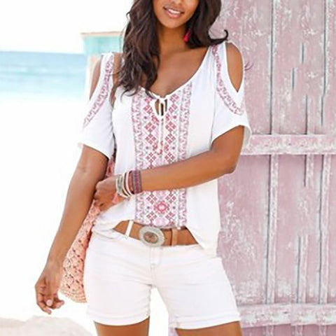 Bohemian Printed Colour Off-Shoulder Short Sleeve T-Shirt