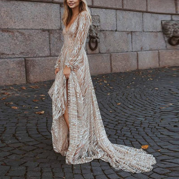 Sexy V Neck Bishop Sleeve Maxi Dress