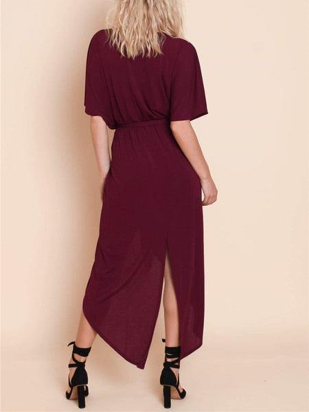 Casual V Neck Batwing Sleeve Slit Belted Dress