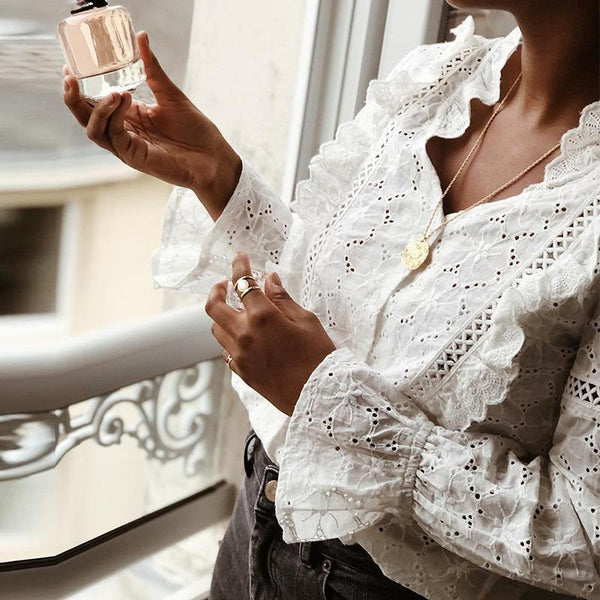 Commuting V Neck Hollow Out Bell Sleeve Ruffled Blouse