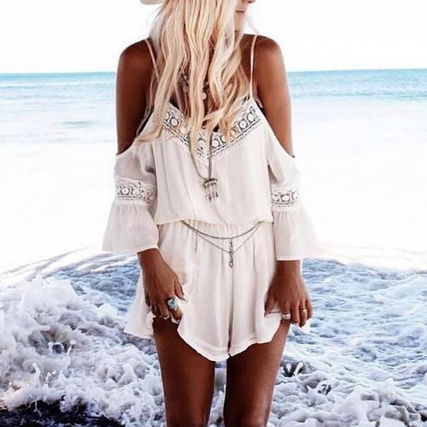 Casual V Neck Sleeveless Printed Colour Bare Back Romper