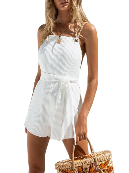 Sexy Sleeveless Belted Off-Shoulder Bare Back Romper